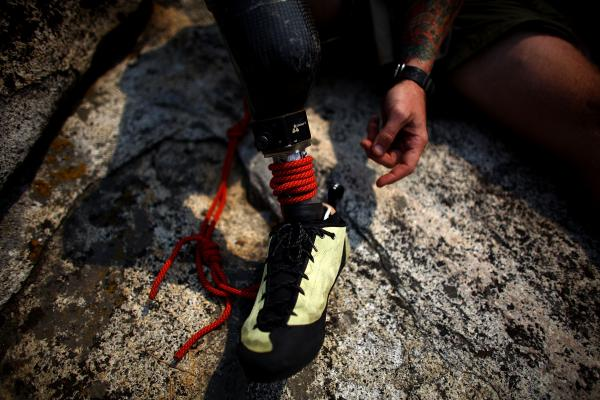 Sullens tied his prosthetic leg to his belt after it nearly fell off during his ascent of Half Dome's 800-foot western face.