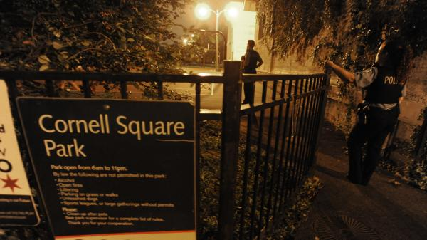 The scene late Thursday at a park in Chicago's South Side after a shooting there in which 13 people were wounded.