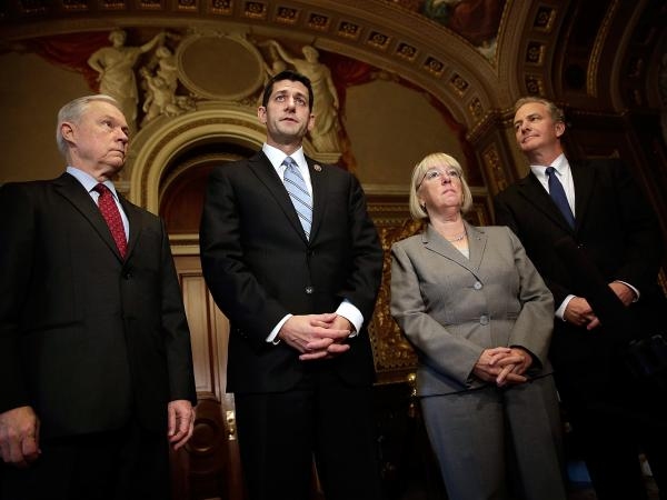 Members of the bipartisan budget conference (from left): Sen. Jeff Sessions, Rep. Paul Ryan, Sen. Patty Murray and Rep. Chris Van Hollen. Can they reach a deal by Dec. 13?