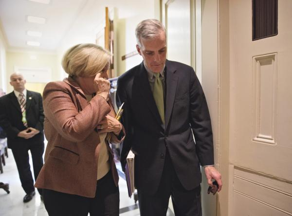 Sen. Claire McCaskill, D-Mo., and White House Chief of Staff Denis McDonough after anxious Senate Democrats met privately on Capitol Hill with Obama administration officials about Obamacare, Oct. 31, 2013.
