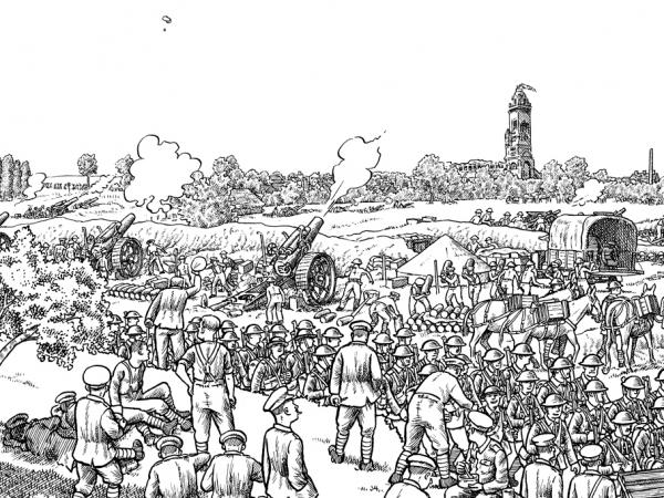 Detail from Plate 5 of Joe Sacco's <em>The Great War: July 1, 1916: The First Day of the Battle of the Somme</em>. The basilica of the town of Albert, visible in the top right, is an important staging point behind the front.
