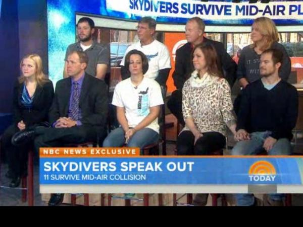 On Tuesday's <em>The Today Show</em>, nine skydivers who had a very close call over Wisconsin talked about the collision of their planes.