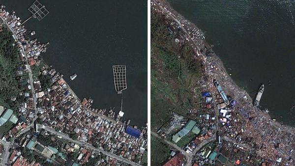 A composite image of Tacloban, Philippines, before and after Typhoon Haiyan.