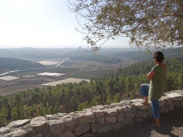 "Sigal Sprukt, an environmental activist and local resident, looks over a valley that is believed to have oil. Israel Energy Initiatives, an energy company, is planning a pilot project to extract oil from shale in a slow heating method. But Sprukt says this ""area is one of the last areas that are not ruined by cities."""