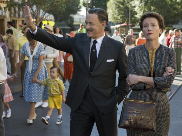Tom Hanks plays the man himself, Walt Disney, alongside Emma Thompson as <em>Mary Poppins</em> author P.L. Travers, in <em>Saving Mr. Banks</em>.