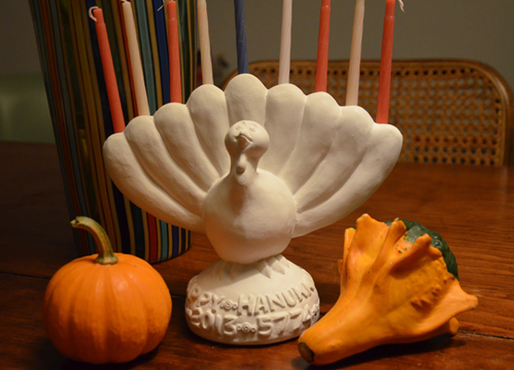 A menurkey -- a menorah shaped like a turkey -- commemorates Thanksgiving and the first day of Chanukah, which fall on the same day this year. (menurkey.com)