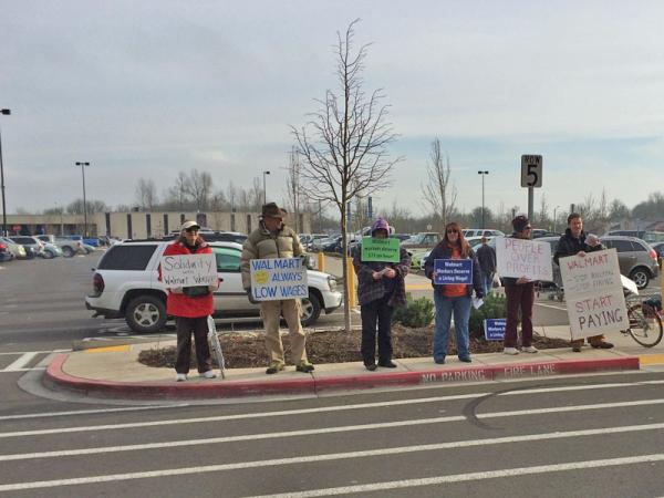 Protesters in front of the Albany, Oregon Walmart.
