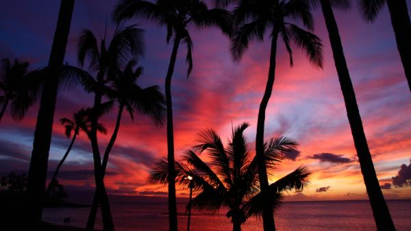 Sunset on the Hawaiian island of Maui.