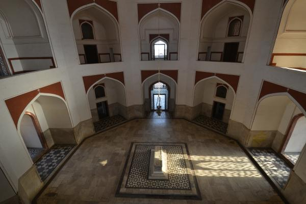 "A marble cenotaph in the main hall of the monument represents the burial site of Humayun. He's actually interred in the crypt below, along with five other Mogul emperors and some 160 royal family members. Historians call it the ""dormitory of the moguls."""