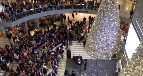 Serge Vorobyov drops 1,000 dollar bills onto a crowd at Mall of America.