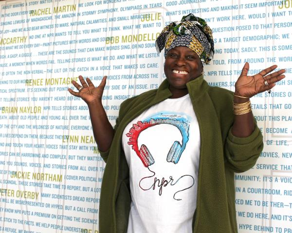 The Washington, D.C., bureau flew in a ringer all the way from Dakar, Senegal. Africa Correspondent Ofeibea Quist-Arcton has paired her NPR shirt with a green fleece, colorful head scarf and the best smile in the business.