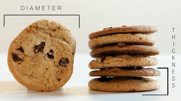 Engineering the perfect cookie: You can control the diameter and thickness of your favorite chocolate chip cookies by changing the temperature of the butter and the amount of flour in the dough.