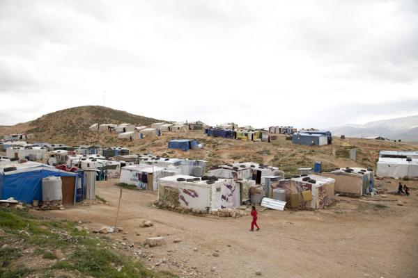 An informal tented settlement for Syrian refugees in Anjar, Lebanon. (Elena Dorfman)