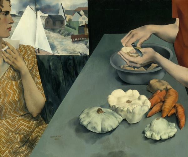 "In Peter Blume's <em>Vegetable Dinner</em>, 1927, two women, one peeling potatoes, one smoking a cigarette, whisper at the crossroads between domestic and bohemian life, says Sarah Kelly Oehler of the Art Institute of Chicago. (Smithsonian American Art Museum, Art © The Educational Alliance, Inc./Estate of Peter Blume/Licensed by <a href=""http://www.vagarights.com"">VAGA</a> New York, NY)"