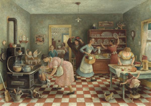 "Doris Lee's <em>Thanksgiving</em>, circa 1935, was, even then, a nostalgic look back at the quintessential American food holiday. ""At a time of economic struggle, <em>Thanksgiving</em> offered a creation story for the nation that could unify the population around a familiar meal of turkey, stuffing, and all the trimmings,"" says Oehler. (Mr. and Mrs. Frank G. Logan Purchase Prize Fund)"