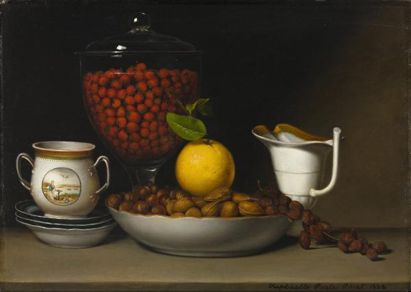 Raphaelle Peale is considered the first American professional still-life painter. His <em>Still Life - Strawberries, Nuts, &c.</em>, 1822, exemplifies early American efforts to showcase the bounty of North America. (Gift of Jamee J. and Marshall Field)