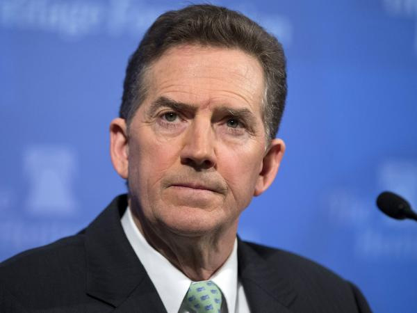 Former GOP Sen. Jim DeMint, president of the Heritage Foundation, at a news conference earlier this year.