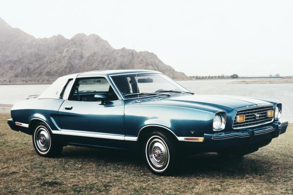Seen here is a new 1976 Ford Mustang, part of the second generation of Mustangs that lasted from 1974 to 1978.