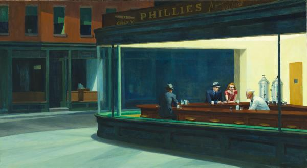 Edward Hopper's iconic <em>Nighthawks</em>, 1942, embodies the increasing isolation of young professionals in the cities, and stands in sharp contrast to Norman Rockwell's <em>Freedom From Want</em>, depicting a loving couple bringing a giant turkey to the family table, painted the same year. (Friends of American Art Collection)