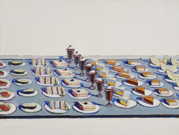 "Wayne Thiebaud's <em>Salad, Sandwiches and Dessert</em>, 1960. Pop artists like Thiebaud and Andy Warhol ""referenced commercial food culture to underscore questions of art making, originality, and the value of the handmade in their work,"" says Barter. (Lent by Sheldon Museum of Art © Wayne Thiebaud/Licensed by VAGA, New York, NY)"