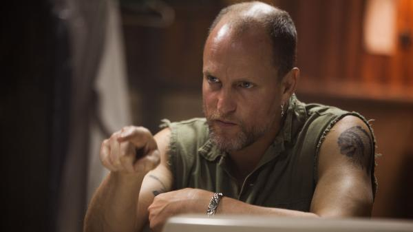 Tapping into his anger and rage, Woody Harrelson plays the meth-smoking psychopath antagonizing Christian Bale in <em>Out of the Furnace.</em>