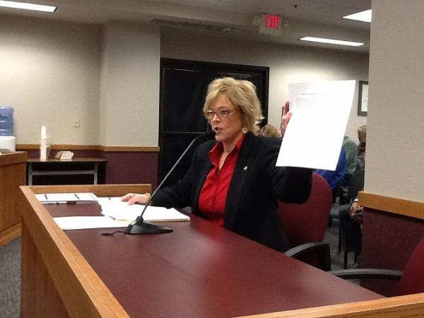 Mo. House Economic Development Committee chair Anne Zerr (R, St. Charles) holds a list of amendments the Mo. Senate added to the Boeing bill on Wednesday before passing it.  Zerr was supportive of the amendments, and the bill passed her committee today.