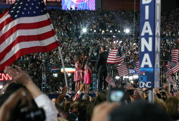 The Obama family at the 2008 Democratic National Convention in Denver.