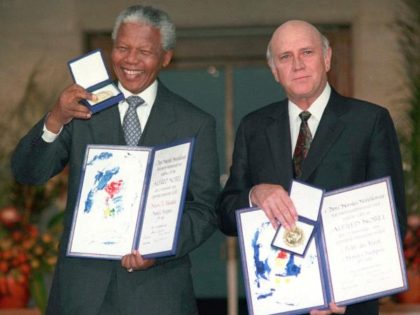 Though there was no warmth between them, Nelson Mandela and President F.W. de Klerk understood they needed to work together. Their careful collaboration led them to share the Nobel Peace Prize in 1993.