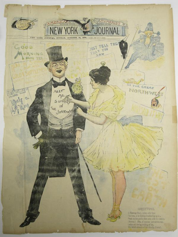 The Oct. 18, 1896, cover of the <em>New York Journal</em> is one of millions of pages of material in the library's collection.