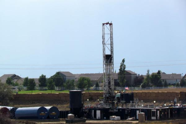 A drilling site near homes outside of Mead, Colo. in Aug. 2012.