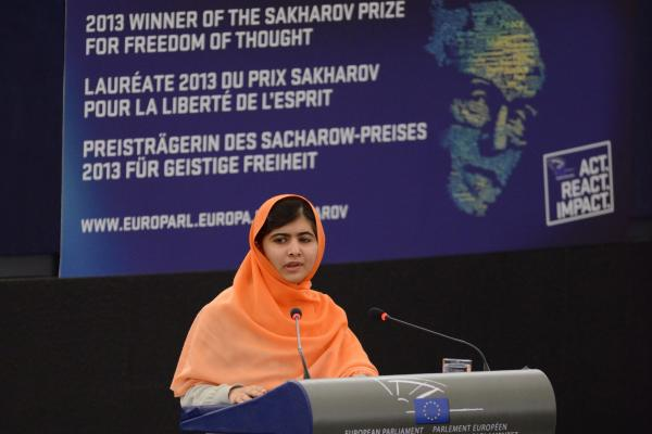 Pakistani activist Malala Yousafzai delivers a speech after receiving the Sakharov Prize for Freedom at the European Parliament in Strasbourg, France, on Nov. 20.