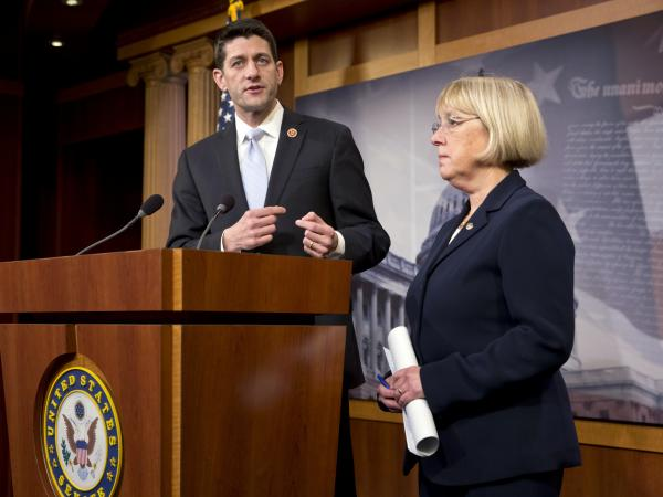 House Budget Committee Chairman Paul Ryan, R-Wis., and Senate Budget Committee Chairwoman Patty Murray, D-Wash., announce a proposed spending plan at the Capitol on Tuesday.