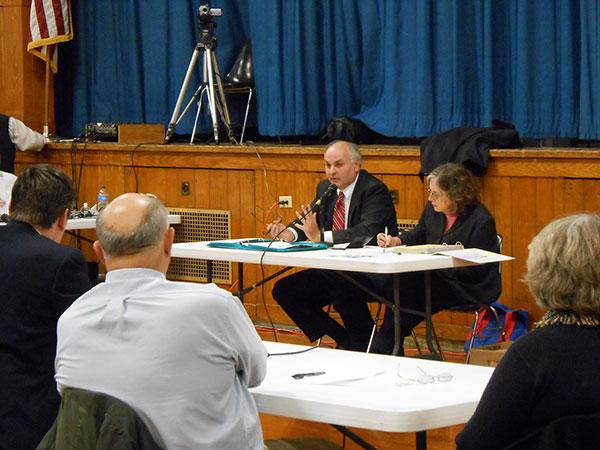 Paul Agresta, of the state Public Service Commission, and Maria Villa, of the Department of Environmental Conservation, hosted the status meeting for the Cape Vincent Wind Farm.