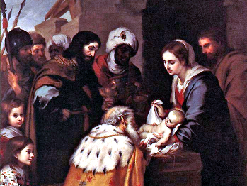 It became an artistic convention during the Middle Ages to depict Balthazar, one of the fabled Magi who come to greet the newborn Christ, as a dark-skinned man. This painting, <em>Adoration of the Magi,</em> is by Bartolome Esteban Murillo.