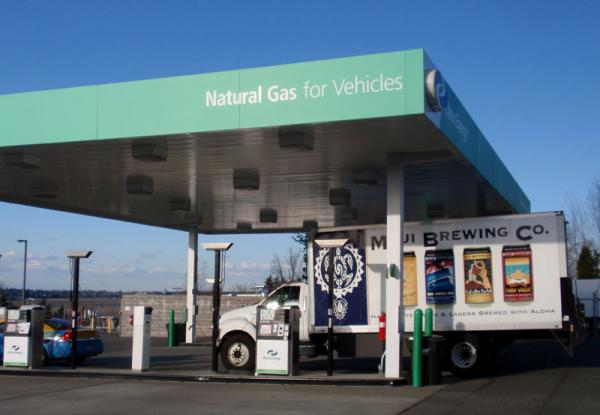 Clean Energy operates this CNG filling station near the airport in SeaTac, Wash.