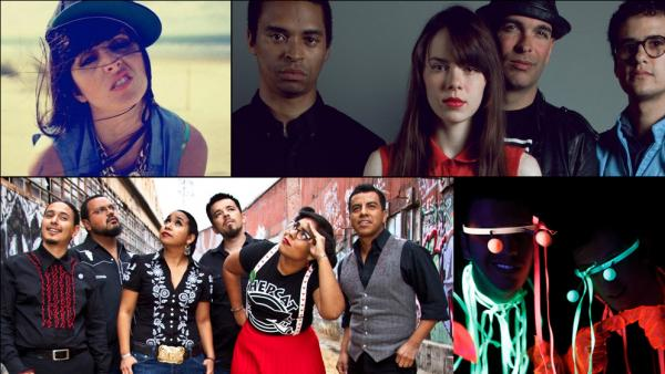 Clockwise, from top left: Mala Rodriguez, Bosnian Rainbows, Frikstailers, La Santa Cecilia.