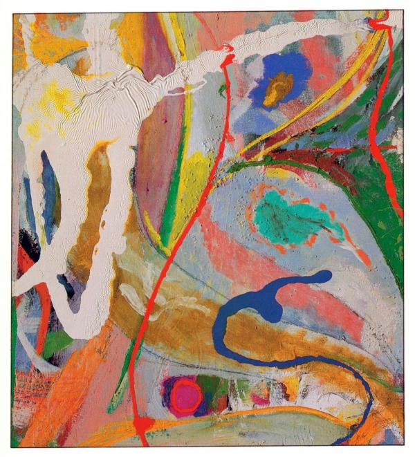 Jackson's 1951<em> Red, Yellow, and Blue</em> is an oil and enamel on canvas piece that was shown in the historic 9th Street Show.
