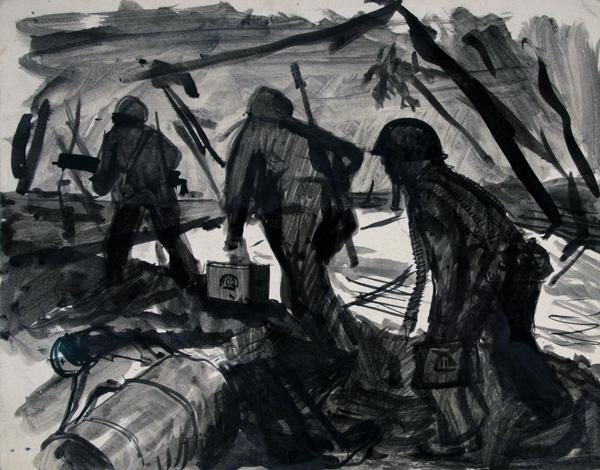 <em>Three Marines Walking Through a Battlezone</em> is one of many sketches that Harry Jackson produced while serving as a Marine Combat Artist during WWII.