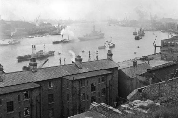 This image circa 1950 shows ships in the harbor at Newcastle upon Tyne, which served as a transport hub for huge quantities of coal from the mines of northern England. The community there is still adjusting to the collapse of the coal-mining and shipbuilding industries.