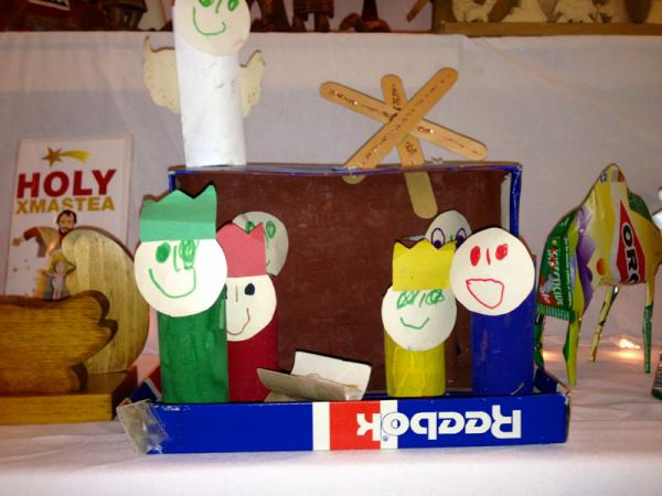 A shoebox and toilet paper roll crèche is one of Neil Allen's most precious sets in his collection of nearly 400 on display at the Northwest United Protestant Church in Richland through Dec. 15.