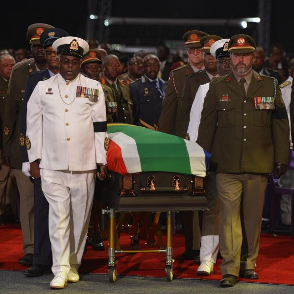 Nelson Mandela's casket was escorted to the funeral service by senior members of South Africa's military.
