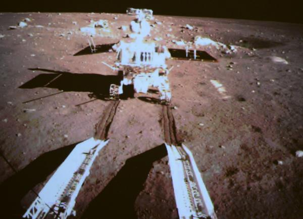 China's first lunar rover separates from Chang'e-3 moon lander early Dec. 15, 2013. This picture was taken from the screen of the Beijing Aerospace Control Center in Beijing, capital of China.