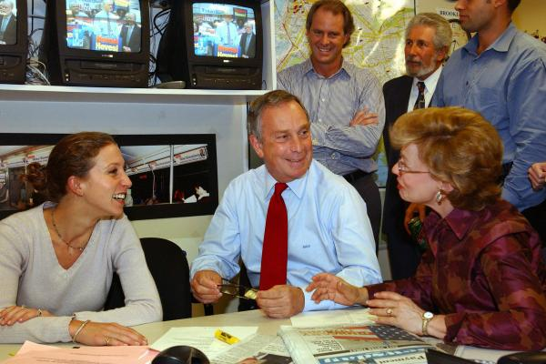 Bloomberg talks with his daughter Emma (left) and sister Marjorie Tiven as they watch televised election reports on Sept. 25, 2001, in New York City. Bloomberg easily won the Republican primary over Herman Badillo.