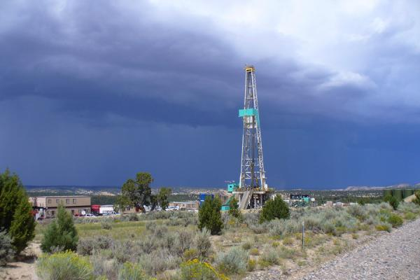 A drilling rig seen in Western Colo. on the Piceance Basin, Aug. 2010.
