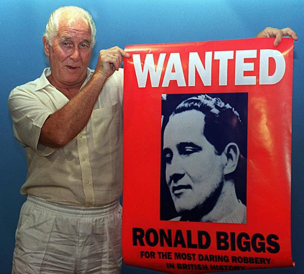 Ronnie Biggs, showing off his notoriety in 1994 while he was living in Brazil.