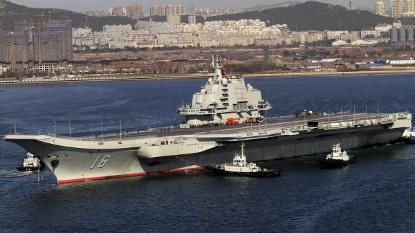 Chinese state media has said the incident involved its newly deployed aircraft carrier, Liaoning, shown here in October 2012.