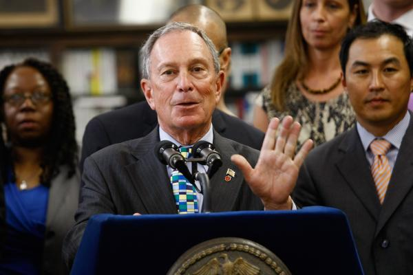 New York City Mayor Michael Bloomberg at Washington Irving High School in 2012, announcing the closures of several underperforming schools and the opening of 54 new ones. Washington Irving is set to close in 2015.