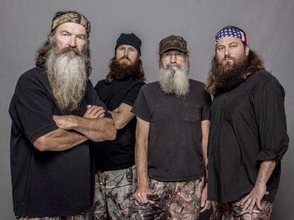 Four of the stars of <em>Duck Dynasty</em>, from left to right: Phil Robertson, Jase Robertson (Phil's son), Si Robertson (Phil's brother) and Willie Robertson (Phil's son).
