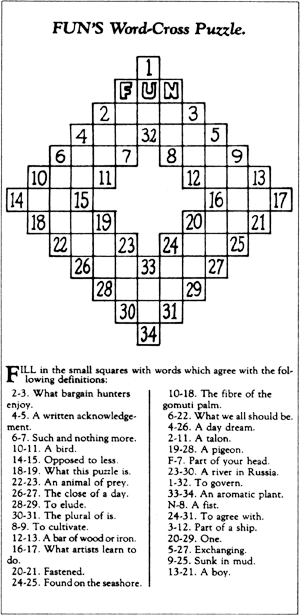 "Arthur Wynne's first published ""word-cross"" puzzle in <em>The New York World.</em>"