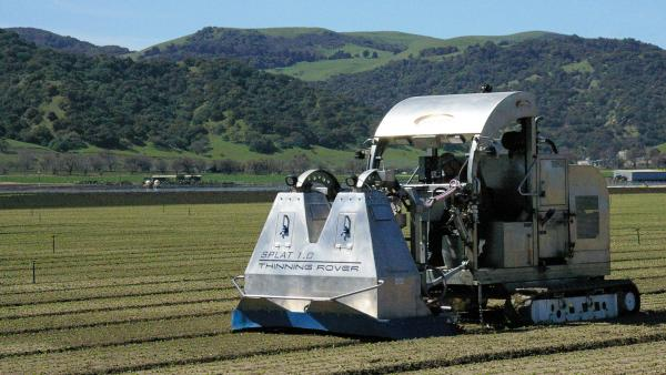 A lettuce thinner created by an agricultural tech startup uses cameras and sensors to thin lettuce rows. Salinas, Calif., has hired a venture capital fund to help it attract other high-tech agricultural companies to the area.